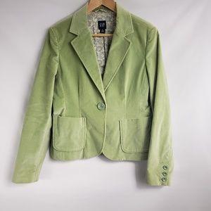 Gap Bright Green Velvet Single Button Blazer